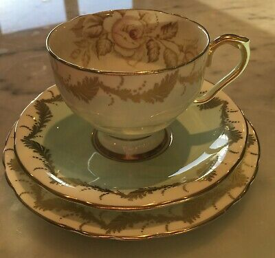 Aynsley Rose Vintage English Bone China Cup Saucer and Plate Trio - BEAUTIFUL
