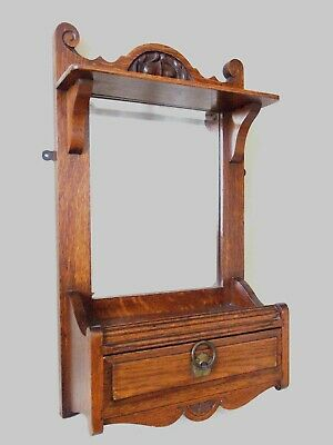 Antique Oak Vanity Mirror With Draw And Shelves Bedroom Hall Bathroom Etc