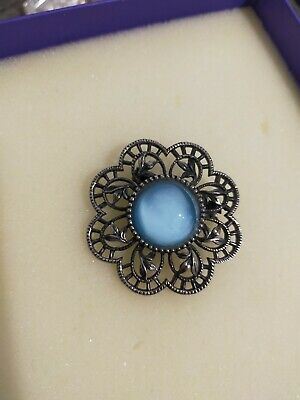 Beautiful Large Blue Stone Art Deco Vintage Brooch 40mm