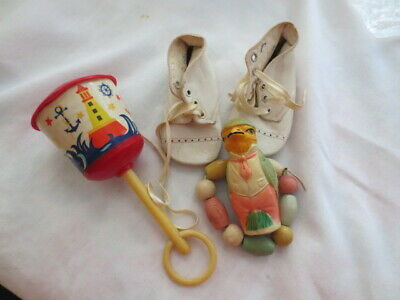 lot of vintage baby items--rattles, teething ring, baby shoes ready 4 shadowbox