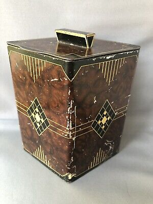 William Crawford & Sons Art Deco 1930s Biscuit Tin Tea Caddy Shaped Geometric