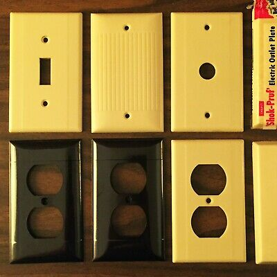 Mid-Century Sierra Leviton Bakelite electrical switch outlet plate cover lot set