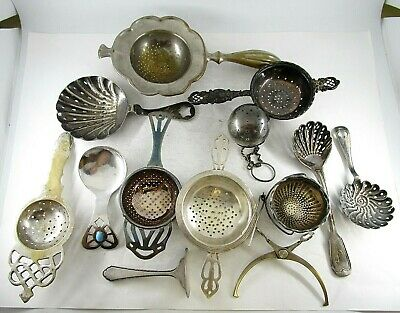 Lot of 13 Assorted Silverplate Tea Strainers & Objects Ca. 1920's-1950's No Res