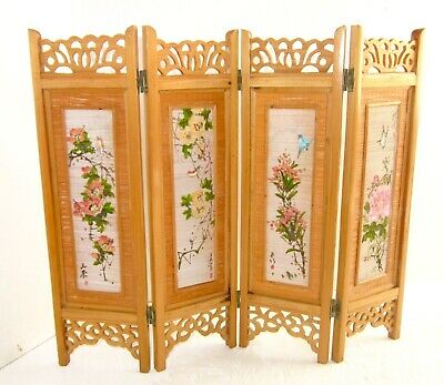 Chinese Miniature Folding Screen Vintage Bamboo Hand Painted Woven Panels