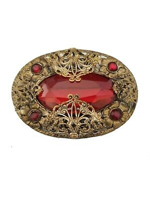 Vintage Victorian Antique Large Red Glass Filigree Brass Brooch Pendant Pin