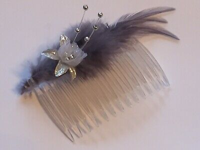 Handmade Ladies Girls Feather Comb Hair Piece Fascinator grey