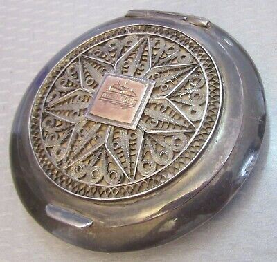 vtg SILVER FILIGREE & ETCHED ROSE GOLD INLAY COMPACT Mideastern handcrafted