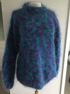 vintage knitted oversized round neck purple green multicolour mohair jumper M/L