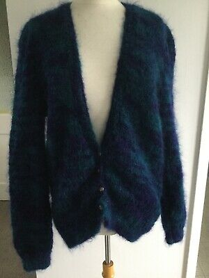 vintage knitted oversized dark blue and turquoise mohair cardigan puff sleeves