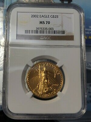 2002 $25 1/2 oz American Gold Eagle NGC MS70 BETTER DATE!