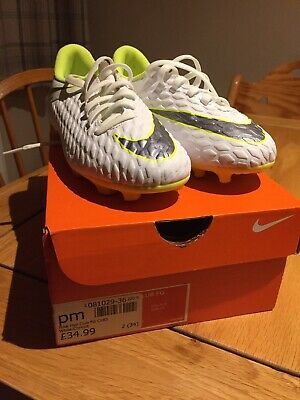 Nike Hypervenom Phantom 3 Academy FG Youth White/Volt Size 2 Excellent Condition