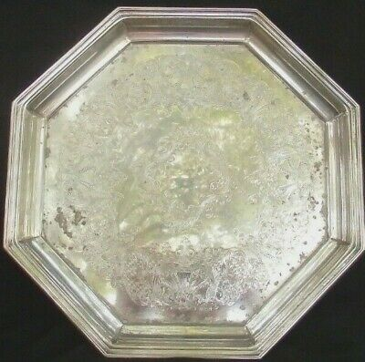 VINTAGE  HEXOAGON  SILVER PLATE SERVING TRAY WITH ENGRAVED PATTERN  28cm.