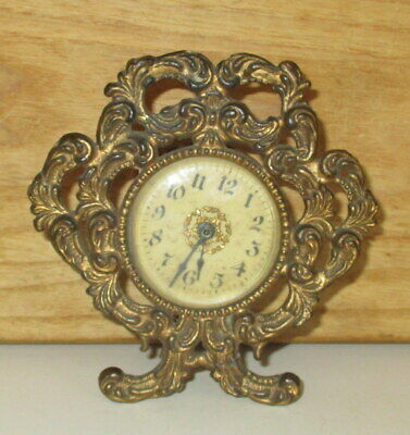 Early 1900'S Ornate Metal Clock For Repair Or Parts-Western Mantle Co.?