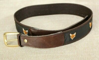 Cashs BROWN CANVAS & LEATHER BELT sz 30 Young Mens Preppy Ribbon Fox Icon Prep