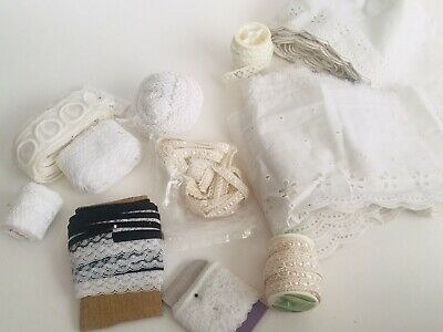 Lot Of Vintage Lace Trim Edging Cord And Eyelet
