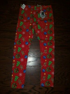 Nwt Poof Holiday Print Polyester Stretch Fleece Lined Leggings: Size L