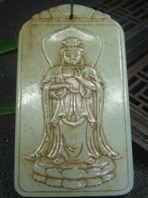 Chinese Antique Celadon Nephrite Hetian-Jade KUAN YIN Statues/Pendant 734