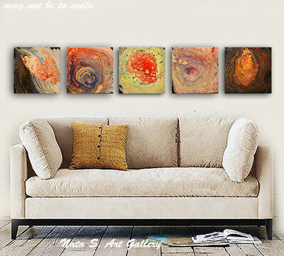 Original Abstract Acrylic Pour Painting Modern Fine Art Multi panel Art - Nata S