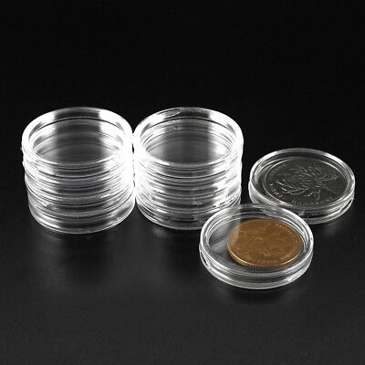 100x Coin Collection Cases Capsules Holder Applied Clear Round Storage Box 300mm