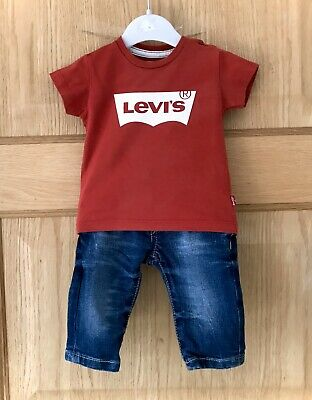 LEVI JEANS OUTFIT *3m BABY BOYS LEVI JEANS & MATCHING TOP T-SHIRT Age 3 MONTHS