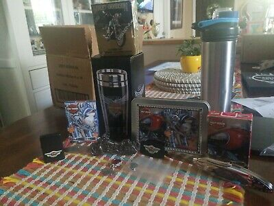 Harley davidson collectors knives, lighter, charm,  pin, cards, travel mug