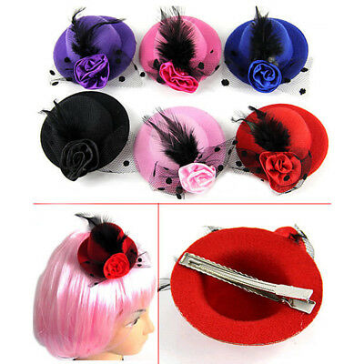 SN_ BL_ Women Girl Mini Feather Rose Top Hat Cap Lace fascinator Hair Clip Acc