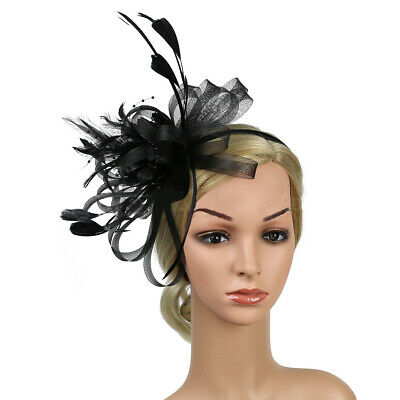 Sn_ Feather Looped Headband Alice Band Fascinator Ladies Wedding Royal Ascot B
