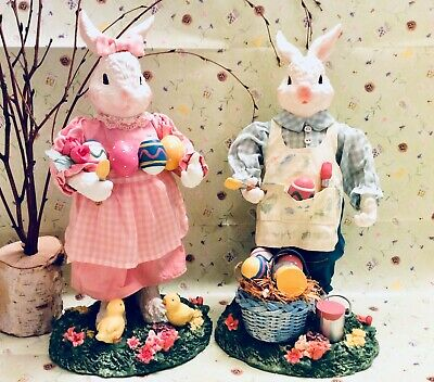 Easter Rabbits Bunnies Egg Painting Easter Spring Chicks Decorations