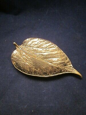 VIRGINIA METALCRAFTERS Brass Mulberry Leaf Dish 1948 CW 3-27