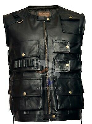 WWE The Shield Roman Reigns Tactical Real Leather Black Jacket Vest Sleeveless
