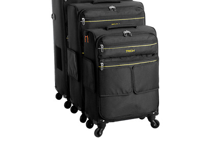 TACH LITE 3-Piece Softcase Connectable Luggage & Carryon Travel Bag Set | Rol...