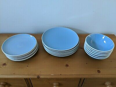 Lovely 18 piece blue Denby dinner set with 6 plates, 6 side plates, 6 bowls