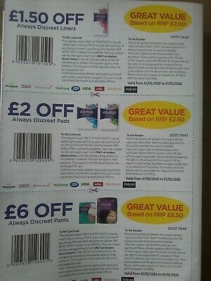 'Always Discreet' Incontinence Products Money Off Coupons worth £9.50