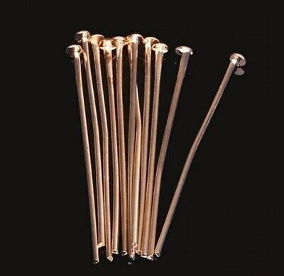 50Pcs Rose Gold Plated Head Pins 30Mm