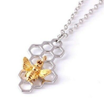 Silver Honeycomb Bee Pendant Necklace