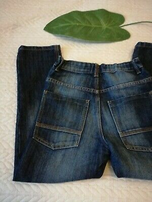 Next Boys Trendy Mid Blue Straight Loose Fit Denim Jeans Age 8 Yrs 128cm