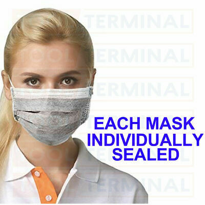 Disposable Face Mask Surgical Respirator Dental Dust Flu Virus Mouth Face 4 Ply