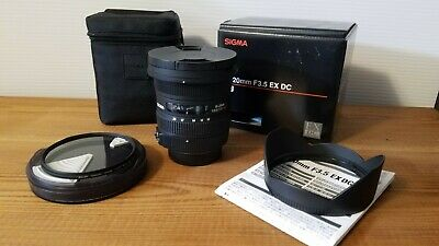 Sigma 10-20mm f/3.5 EX DC Nikon w/case, caps and box