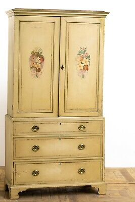 Antique Edwardian Painted Mahogany Country House Press Converted to Wardrobe