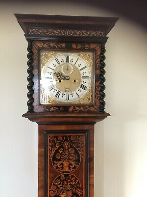 Period Antique Marquetry 17 Century Long case clock with lovely Marquetry panels