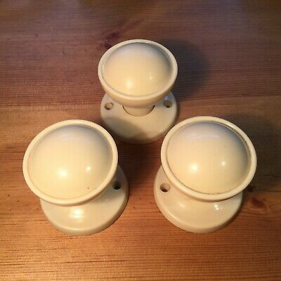 Three Vintage Ivory White Bakelite / Plastic Door Knobs / Handles & Back Plates