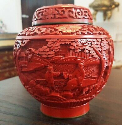 Antique China Chinese Cinnabar Lacquer Enamel Red Pot Carved Figures