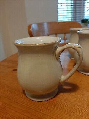 Six Denby Stoneware Linen Cream Craftsman Mugs Footed Cups