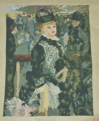 Vintage Completed Tapestry Cross Stitch Needlework Green Hat & Dress Lady