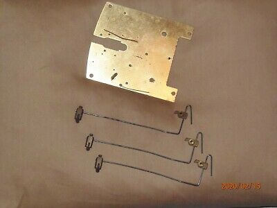 Vintage clock parts, Smiths Enfield movement plate plus 3 chime strikers.