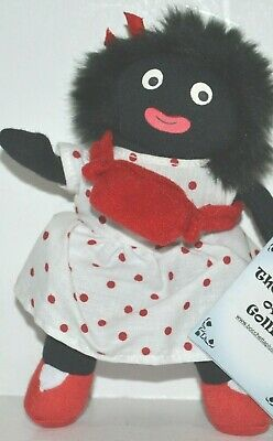 Bocchetta Cute Small Black Doll Wilma White Red Polka Dot Dress Soft Toy 16cm