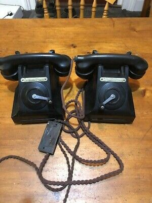 Old Bakelite Crank Phones Pair Tmc Type L75 From Blechley Park