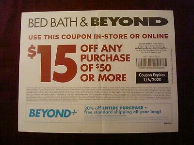 Discount Coupons, Bed Bath & Beyond, Two (2), $15.00 Off $50.00 Spent