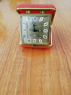 Vintage Estyma 2 jewel folding travel alarm clock. Ronan numerals working order.