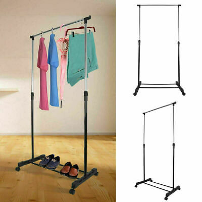 Adjustable Mobile Clothes Coat Garment Hanging Rail Rack Storage Stand On Wheels